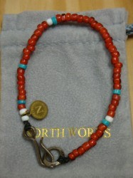 ノースワークス Nickel 10¢ Hook Beads Bracelet Col.RED